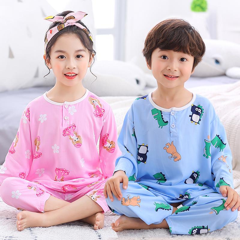 儿童棉绸夏季小孩长袖空调睡衣