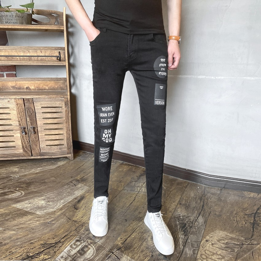 Autumn and winter new slim jeans mens and Koreas fashionable elastic Leggings fashionable personalized printed social pants