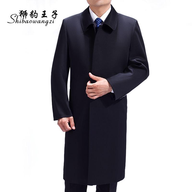中年男士风衣外套加肥加大中老年男风衣中长款大码春秋大衣爸爸装