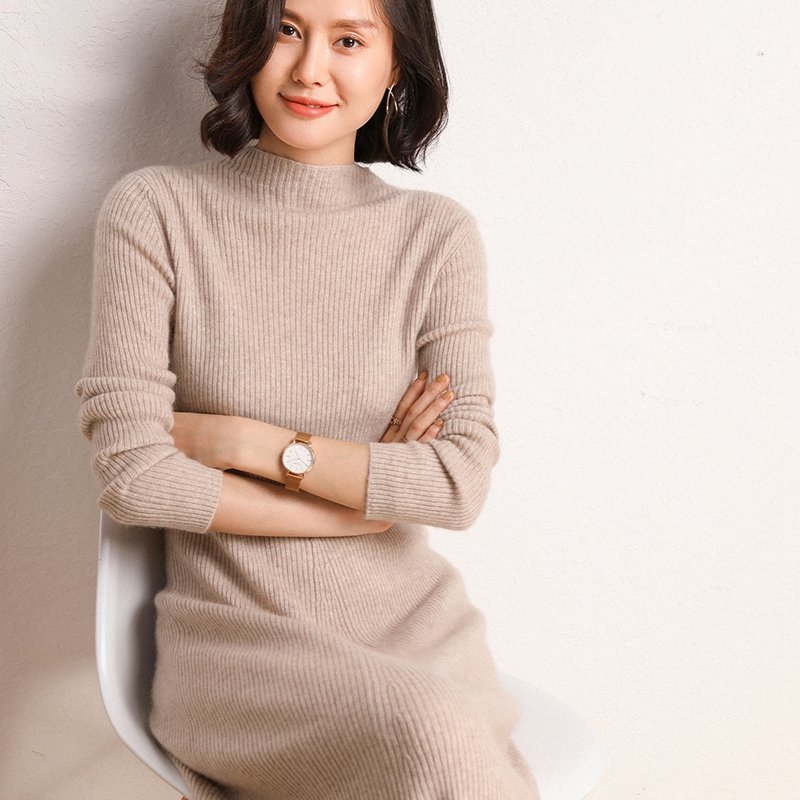 20 new sweater Korean version with fashionable half high neck slim fit cover head medium long temperament cashmere dress for women