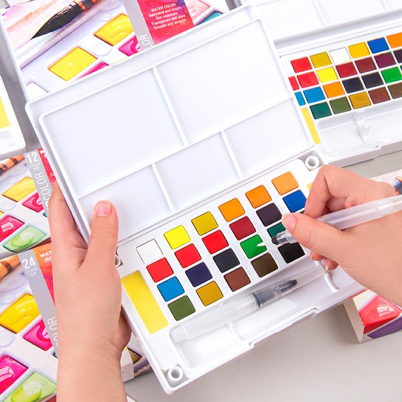 柏伦斯固体水彩颜料套装18色24色36色固体水彩 初学者手绘便携水彩画颜料透明美术画画颜料