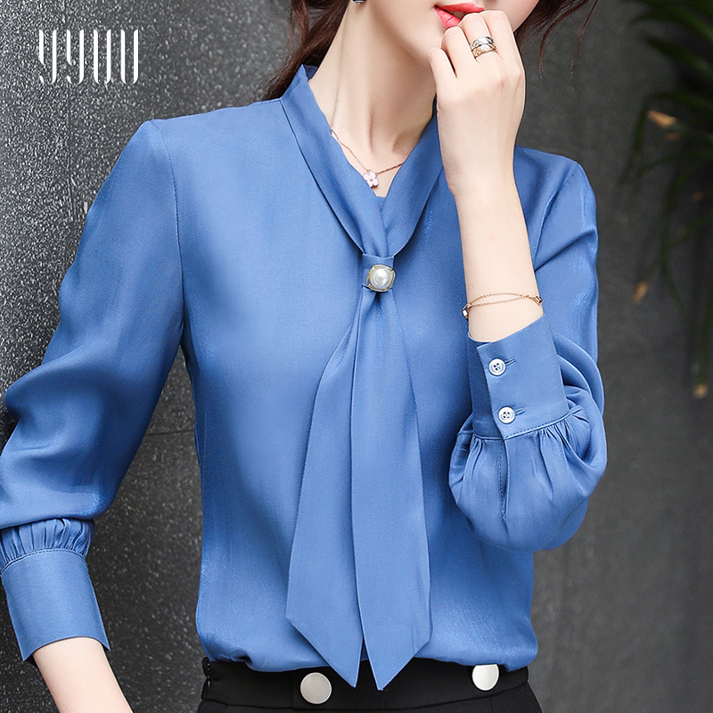 领带雪纺长袖职业气质蓝色2019衬衫热销114件五折促销
