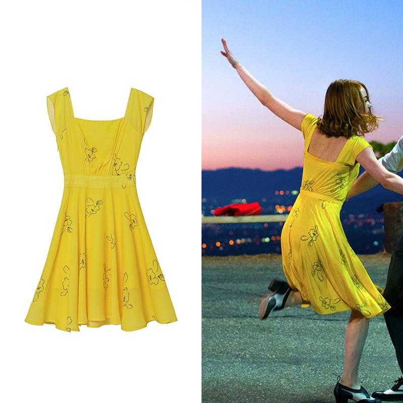 爱乐之城石头姐同款连衣裙快乐大本营古力娜扎黄色漏背长裙