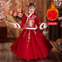 拜年服女童汉服古装超仙春装加绒加厚春季唐装红色宝宝过年新年装