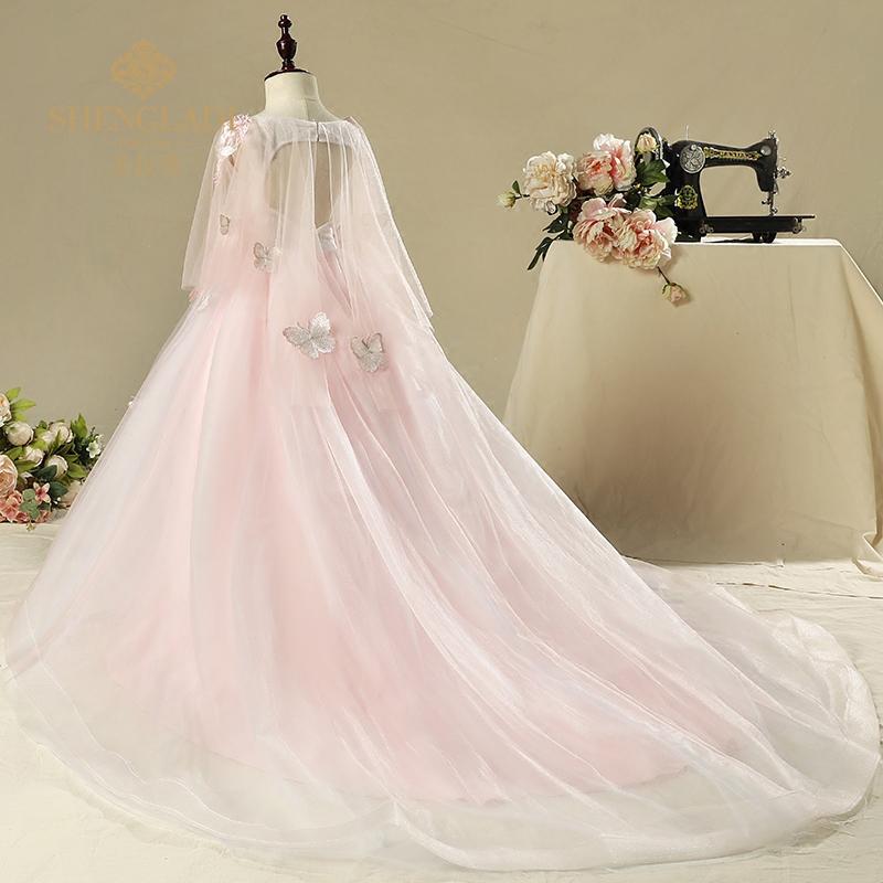 儿童礼服公主裙女童晚礼服粉色拖尾婚纱蓬蓬裙主持人演出服花童女
