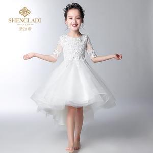 花童礼服女儿童婚纱女童公主裙蓬蓬纱儿童婚礼服白色主持人演出服图片