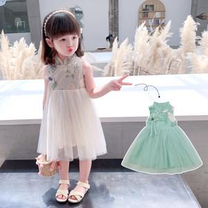 女童中国风连衣裙儿童无袖夏装裙子改良旗袍拼接公主裙宝宝纱裙潮