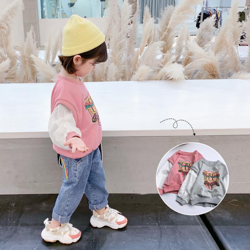 女童韩版卫衣2021春秋装新款童装小童宝宝洋气假两件儿童长袖上衣