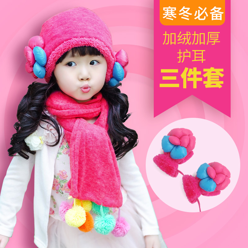Winter Plush girls hat, scarf, gloves, multiple sets of warm and thickened girls hat 2019