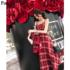 2019春季新款韩版气质女装红色格子裙子粗花呢性感吊带裙连衣裙