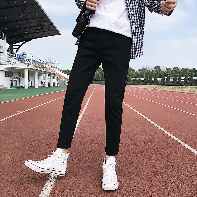 Black jeans mens slim fit spring and autumn student nine point pants Hong Kong chic pants Korean fashion casual pants