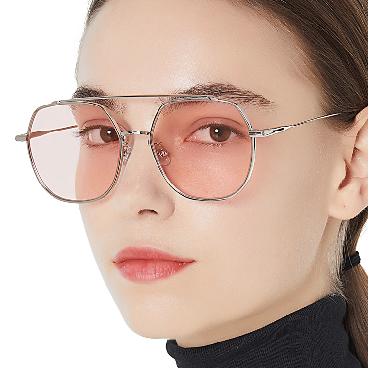 2020 metal polygon Sunglasses retro double beam Sunglasses European and American ocean Sunglasses