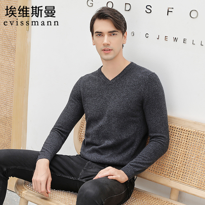 Evissmann winter mens cashmere sweater with long sleeve sweater and mens V-neck slim fitting Pullover