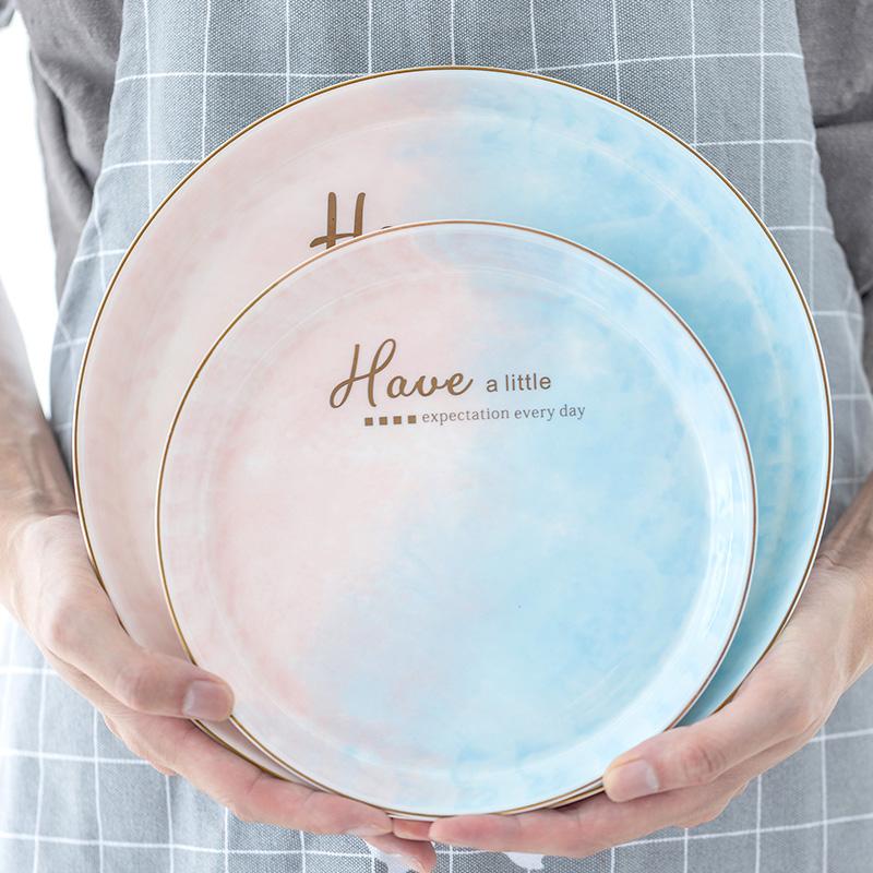 北欧餐具轻奢陶瓷盘子菜盘家用新款创意早餐鱼盘西餐牛排餐盘碟子