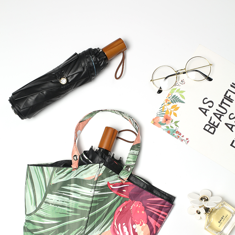 雨伞太阳伞防晒防紫外线女折叠晴雨两用创意新款黑胶遮阳伞upf50+,可领取10元天猫优惠券