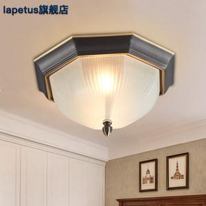 简约美式乡村全铜八角吸顶灯具欧式入户玄关阳台小厨房过道走廊灯