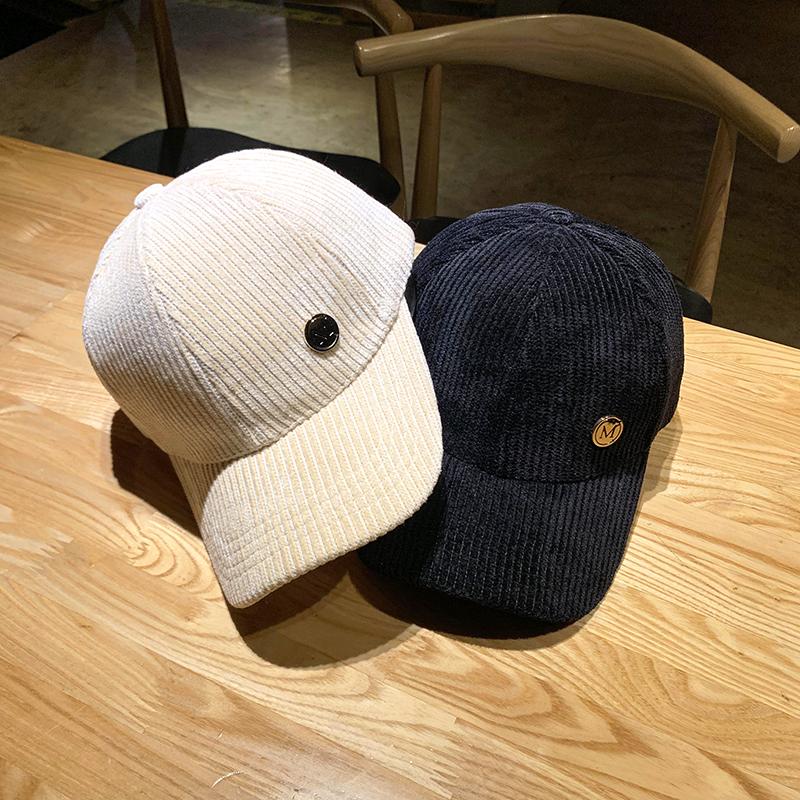 2019新款帽子女韩版潮休闲百搭M标灯芯绒鸭舌帽秋冬街头季棒球帽