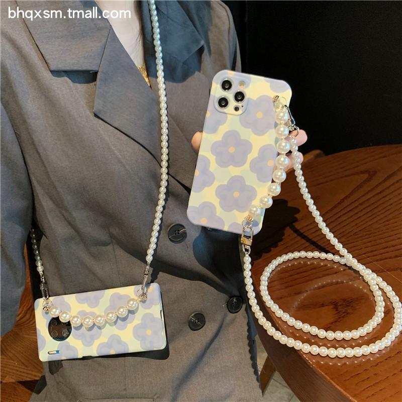ins风蓝色花朵iPhone11珍珠链条斜挎苹果12手机壳12Promax软硅胶xr/xs/xs max可背带挂绳7plus网红8plus女款