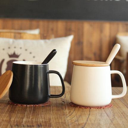 创意杯子陶瓷马克杯带盖勺大容量情侣水杯办公室简约咖啡杯茶杯