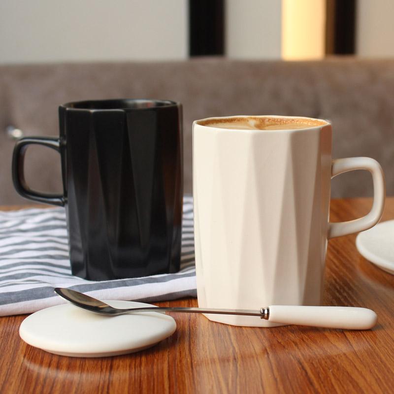 ins北欧简约陶瓷马克杯子咖啡杯带盖勺 情侣办公室家用男女喝水杯