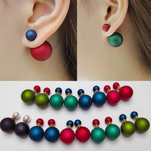 前後球雙面珍珠耳釘S925純銀耳墜大小球兩用氣質耳環女生氣質韓國