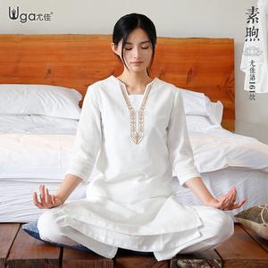 尤佳瑜伽服套装女2021春夏宽松气质仙气高端太极服禅修茶服居士服