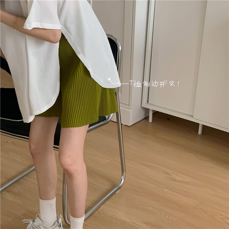 夏季韩版chic复古ins简约百搭宽松V领短袖T恤+压褶休闲短裤套装