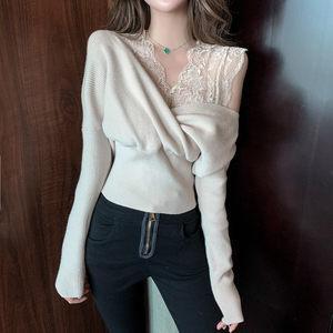 针织衫女秋冬2019新款设计感蕾丝V领收腰修身长袖套头假两件上衣