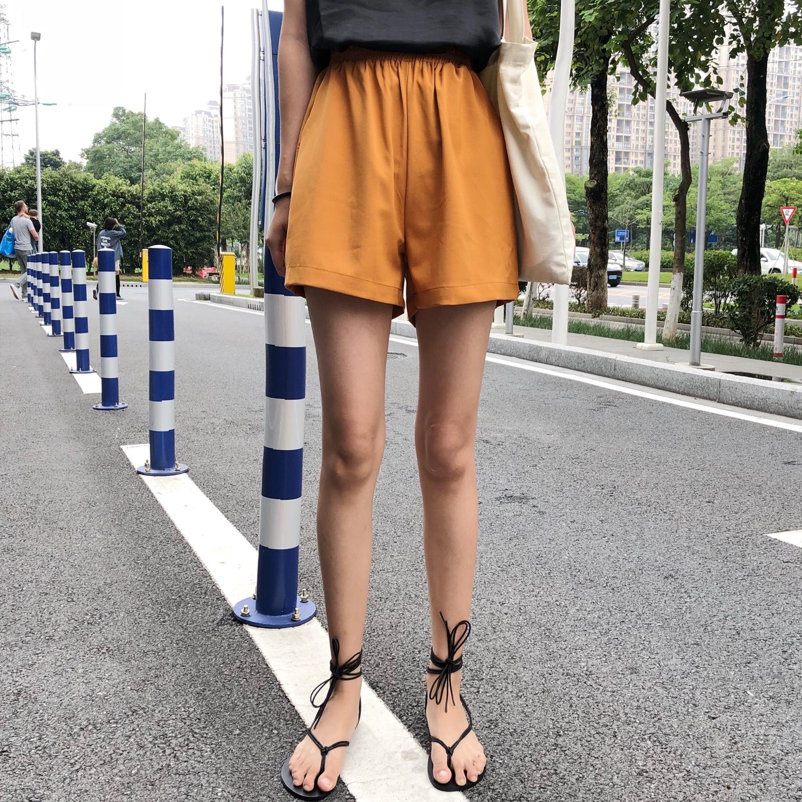 撲啦啦韓風Chic高腰寬鬆顯瘦闊腿褲女夏簡約基礎百搭休閑黃色短褲