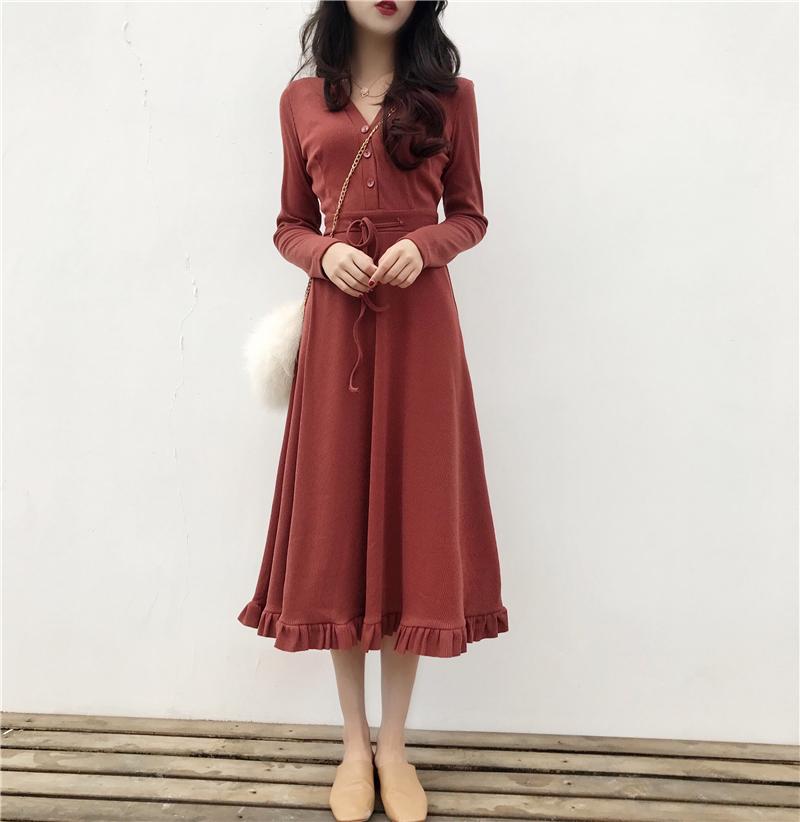 韩风Chic气质V领收腰系带修身显瘦连衣裙 纯色简约长袖木耳中长裙