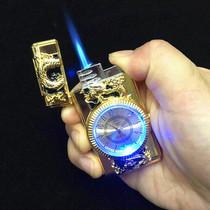 真手表充气打火机带灯直冲防风创意节日礼品金属七彩灯电子手表