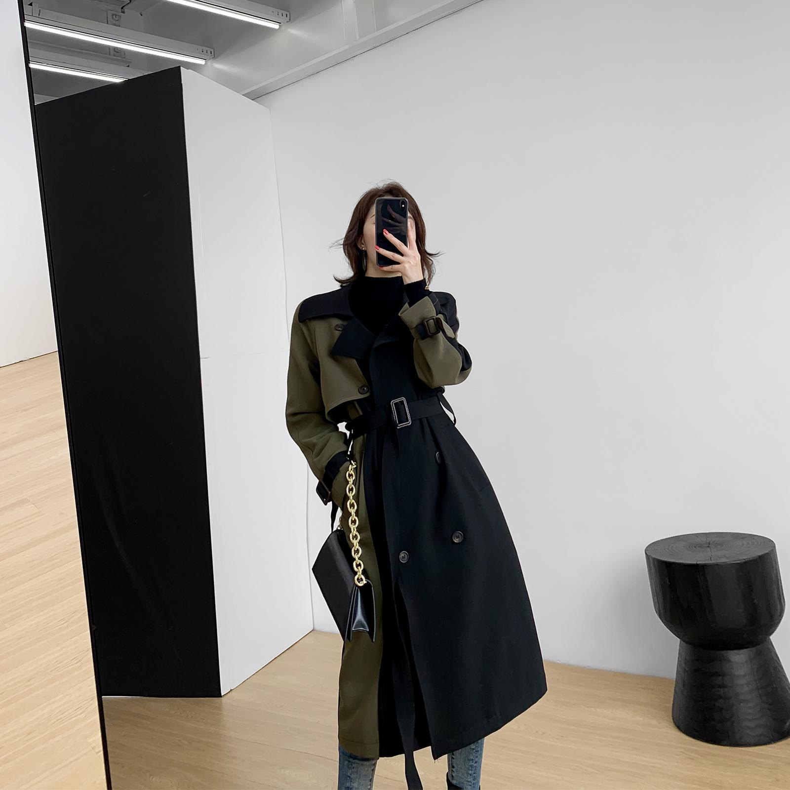 热销1187件包邮果哥定制黑色中长款2019秋装风衣