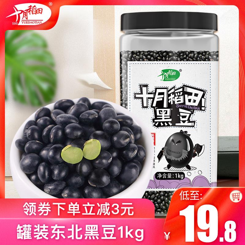 十月稻田 东北绿心黑豆农家自产绿芯小黑豆青仁黑小豆可发芽1kg