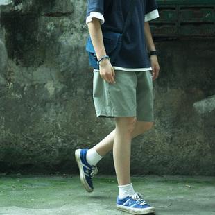 Nobodyknows 夏季日系簡約基礎款寬鬆直筒豆沙綠男女款五分褲短褲