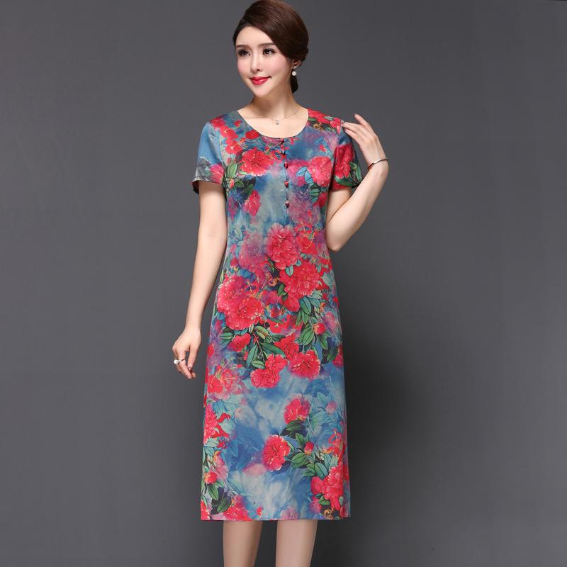 妈妈夏装真丝印花连衣裙中长款大码修身显瘦短袖中年女装2018新款