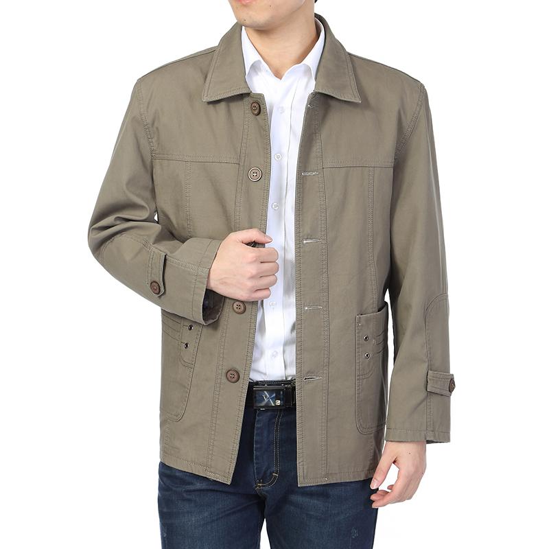 春夏中老年男装薄款夹克衫外套全棉上衣爸爸装中年男士中长款夹克