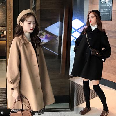 中长款毛呢外套女秋冬学生风小个子韩版风衣斗篷型灯笼袖大衣宽松