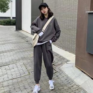 假兩件運動休閒套裝女學生秋季韓版衞衣褲子兩件套網紅薄款原宿風