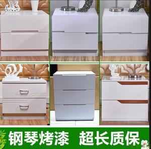 烤漆床頭柜 簡約現代床邊柜 歐式儲物柜白色環保收納柜 整裝包郵
