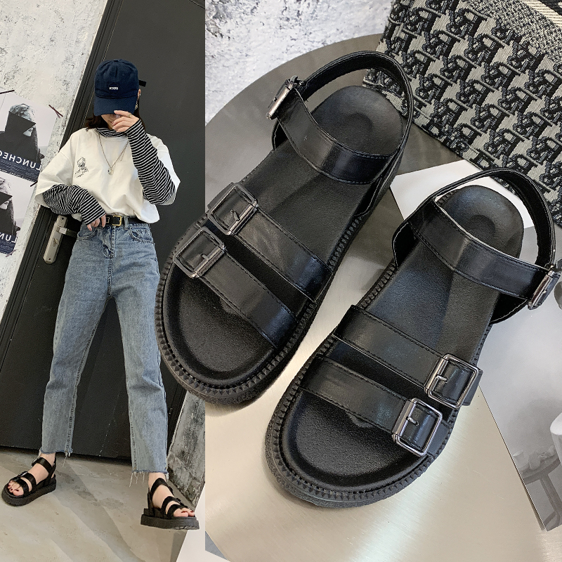 Net red buckle with Korean sandals 2020 summer new flat sole soft sole all match Roman womens shoes anti slip loose for pregnant women