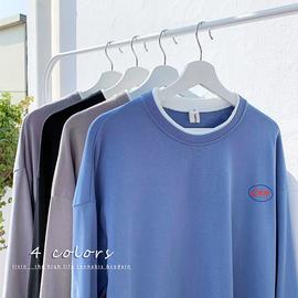 秋季港风 假两件宽松卫衣纯毛圈圆领套头印花长袖上衣男生图片