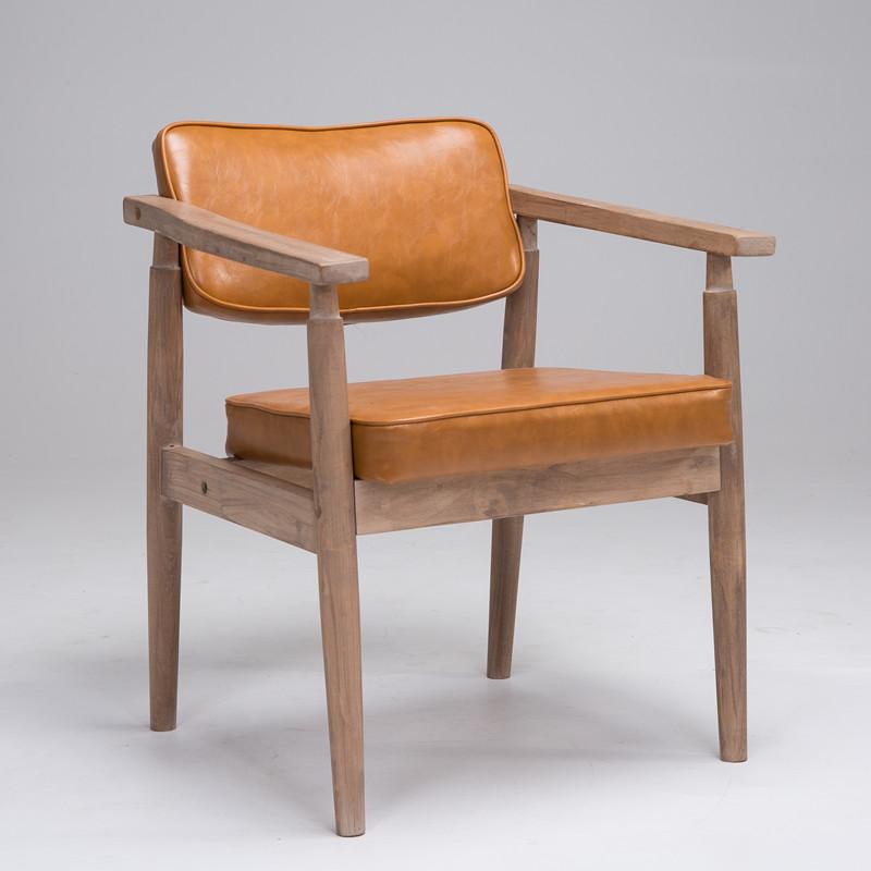 梵辰实木白色复古做旧靠背椅欧式扶手咖啡厅餐厅椅书房休闲椅北欧
