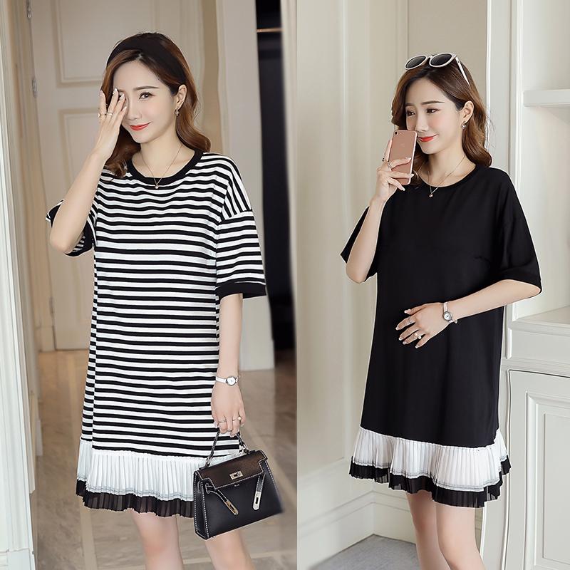 (实拍现货)孕妇装大码夏装新款韩版宽松孕妇装大码连衣裙 8819#
