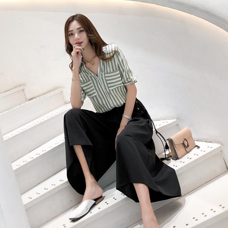 2018夏季新款女装宽松阔腿裤套装女洋气显瘦时尚九分裤两件套装潮