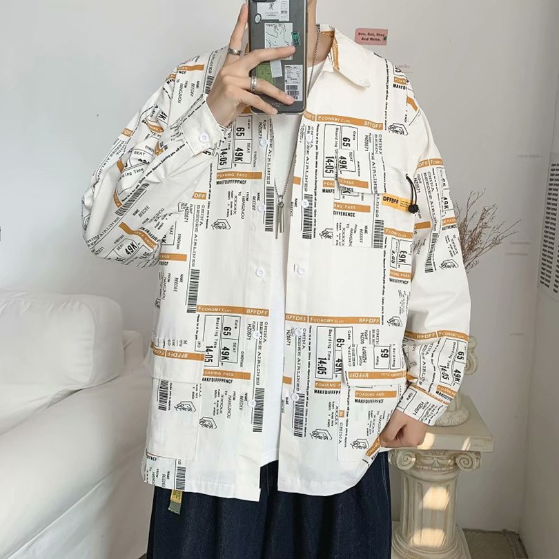 Autumn new geometric pattern cotton long sleeve shirt mens Hong Kong Style versatile personality loose top casual coat trend