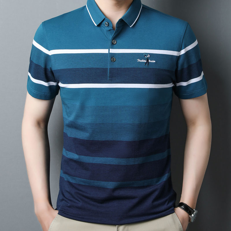 Mens short sleeve T-shirt summer new middle-aged striped casual polo shirt dads pure cotton half sleeve T-shirt