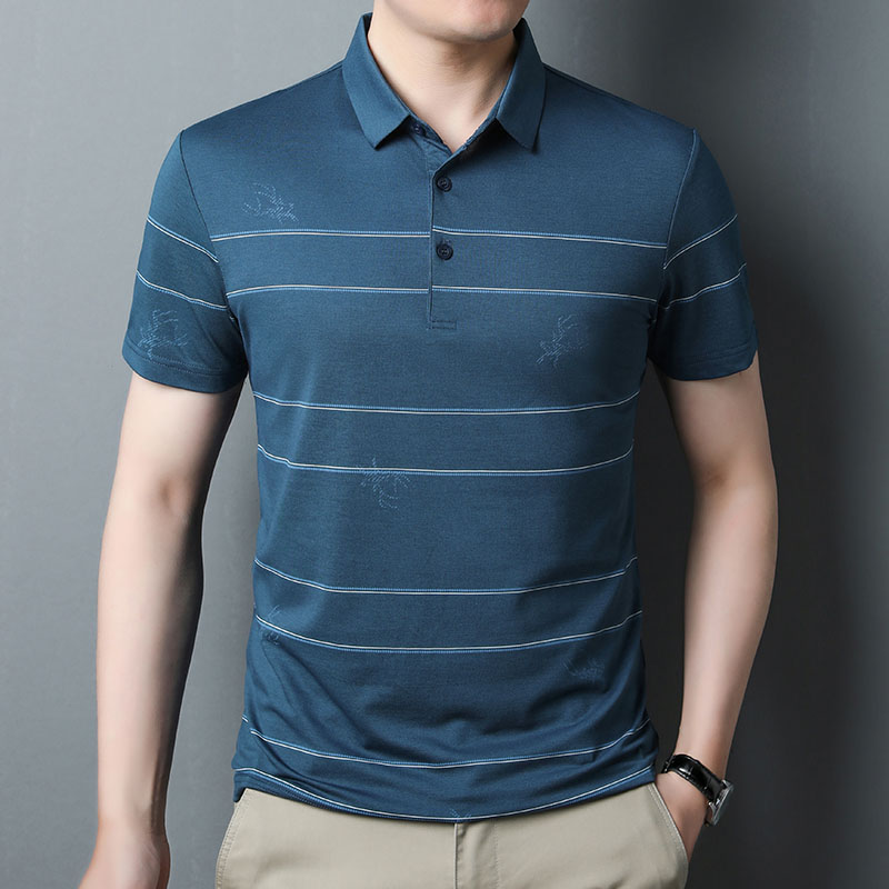 Silk t-shirt mens stripe short sleeve summer middle aged mens Polo Shirt business leisure half sleeve middle aged and old dads dress