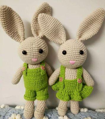 长耳兔子毛线玩偶情侣礼物5股牛奶棉钩针手工diy编织材料包送教程