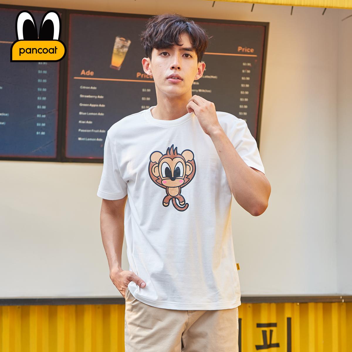 PANCOAT潮流韩版圆领T恤男款猴子印花宽松短袖PCATE182072M