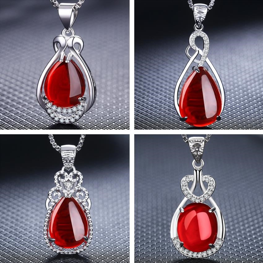 S925 Ruby natural green chalcedony agate necklace silver tide lady with Diamond Drop Pendant